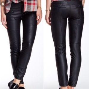 Free People black faux leather pants quilted moto